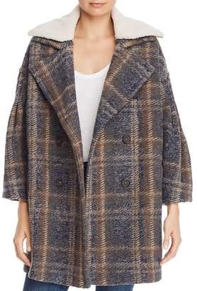 Joie Angalina Double-Breasted Plaid Coat