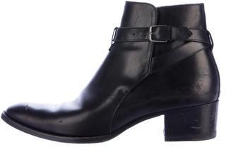 Saint LaurentSaint Laurent Round-Toe Leather Ankle Boots