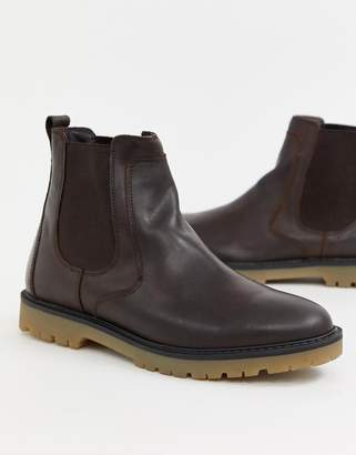 Pull&Bear leather chelsea boot with chunky sole in brown