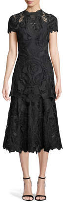 Jonathan Simkhai Mock-Neck Lace Guipure Cap-Sleeve Midi Dress