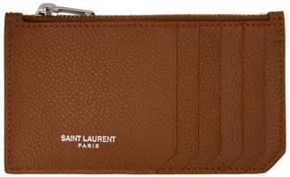 Saint Laurent (サン ローラン) - Saint Laurent ブラウン フラグメント ジッパー カード ホルダー