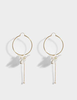 Anton Heunis Crystal and Flower Hoop Earrings in White and Crystal Metal