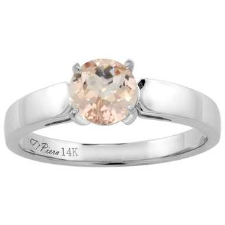 Sabrina Silver 14K White Gold Natural Morganite Solitaire Engagement Ring Round 7 mm, size 5