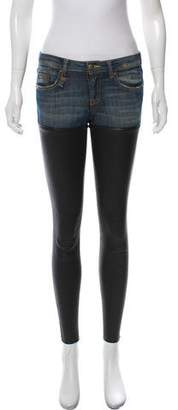 R 13 Faux Leather Accented Mid-Rise Jeans