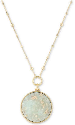 "Lucky Brand Gold-Tone Beaded Reversible Stone Pendant Necklace, 29"" + 2"" extender"
