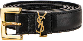 Saint Laurent Monogramme Buckle Belt in Black | FWRD