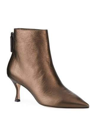 Stuart Weitzman Juniper Metallic Leather Mid-Heel Booties