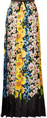 Gucci Grosgrain-trimmed Floral-print Silk-satin Maxi Skirt - Yellow