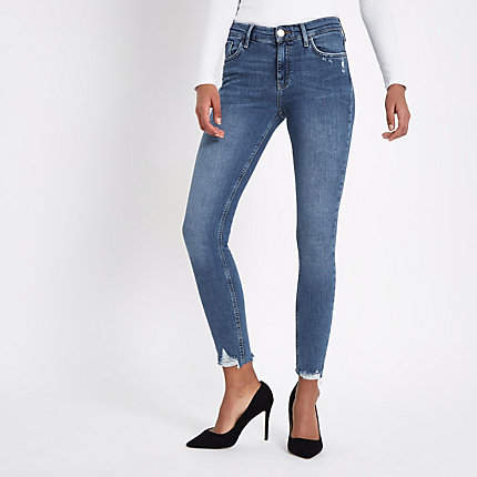 Womens Mid Blue Amelie ripped hem super skinny jeans