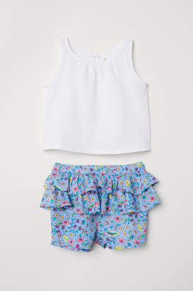 H&M Top and Ruffled Shorts - Blue