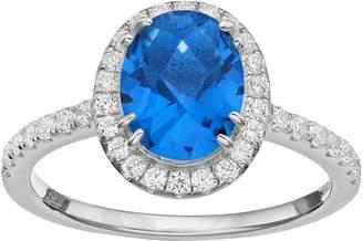 Sloane Rebecca Blue Obsidian & Cubic Zirconia Platinum Over Silver Halo Ring