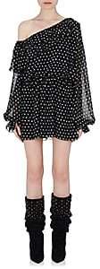 Saint Laurent Women's Ruffle Silk Off-The-Shoulder Dress-Wht.&blk.