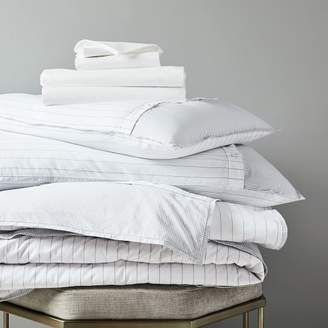 west elm Organic Washed Cotton Stripe Bedding Set - Slate