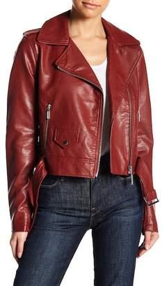Moto Free Press Faux Leather Jacket