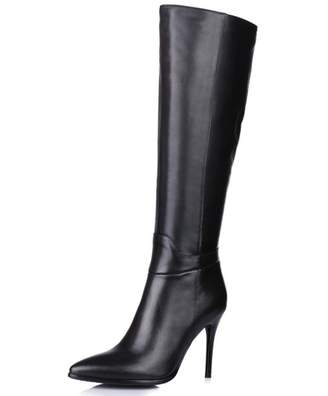 Nine Seven Genuine Leather Women's Pointed Toe Stiletto Heel Zip Handmade Knee High Boot