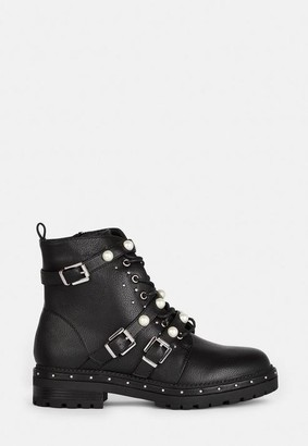 Missguided Black Mock Pearl Strap Biker Boots