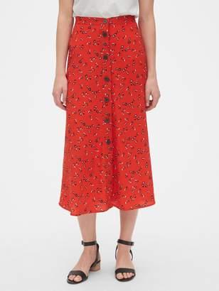 Gap Print Button-Front Midi Skirt