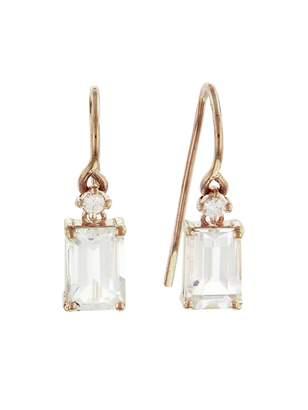 Suzanne Kalan KALAN By Emerald Cut White Topaz and Diamond Drop Earrings - Rose Gold