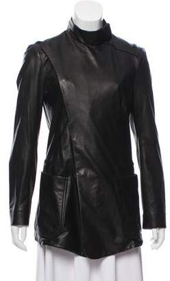 Balenciaga Leather Mock Neck Jacket