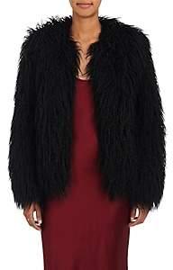 Nili Lotan Women's Lena Mongolian-Faux-Fur Jacket - Black