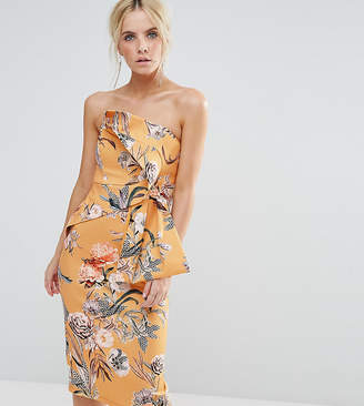 Asos Floral Fold Bow Front Bandeau Scuba Midi Dress