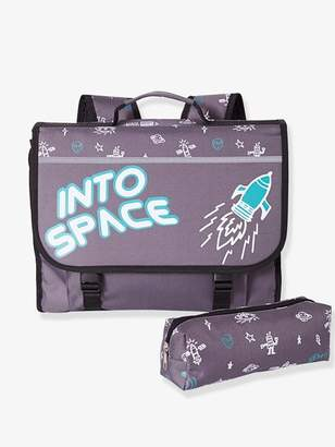 Backpack + Pencil Case for Boys, Into space - grey dark solid with design