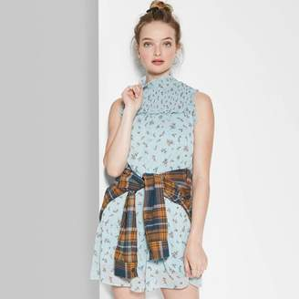 Wild Fable Women's Floral Print Sleeveless Mock Turtleneck Smocked Babydoll Mini Dress - Wild FableTM