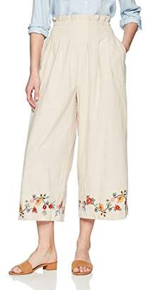 J.o.a. Women's Embroidered Paper Bag High Waisted Wide Leg Pants