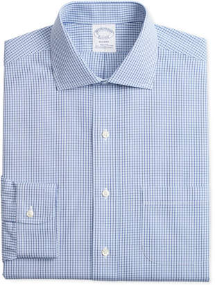 Brooks Brothers Men's Regent Slim-Fit Non-Iron Stretch Broadcloth Light Blue Gingham Dress Shirt