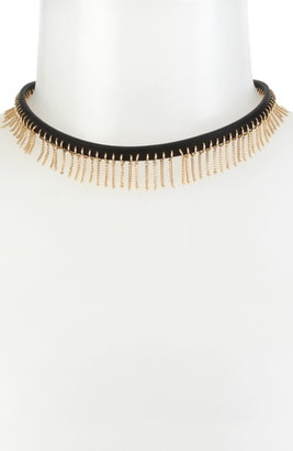 AllSaints Fringe Leather Choker Necklace
