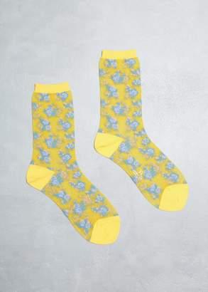 Y's by Yohji Yamamoto Tegusu Flower Socks