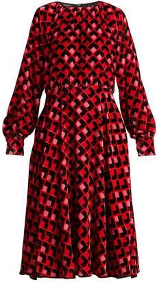 Rochas Geometric-print velvet midi dress