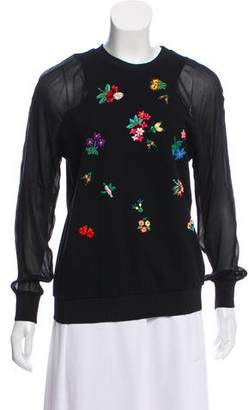 Megan Park Embroidered Long Sleeve Sweater