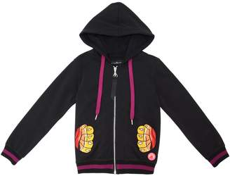 John Richmond Embroidered Cotton Hooded Sweatshirt