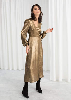 And other stories Metallic Satin Midi Dress