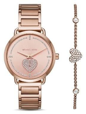 Michael Kors Portia Watch, 36.5mm, & Pavé Heart Bracelet Set