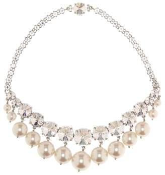 Miu Miu Crystal and faux-pearl necklace