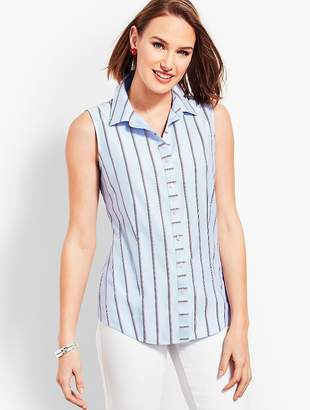 Talbots The Classic Sleeveless Button Front Shirt - Stripe