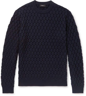 Theory Marcos Slim-Fit Cable-Knit Merino Wool Sweater - Navy