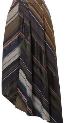 Apiece Apart Turkanna Wrap-effect Striped Voile Midi Skirt - Black