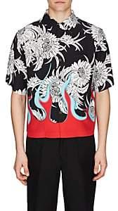 Prada Men's Flame- & Floral-Print Bowling Shirt - Black