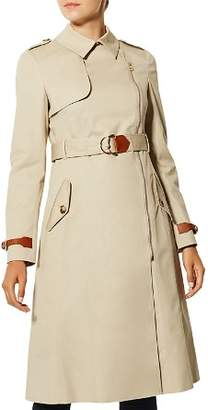 Karen Millen Zip-Front Long Trench Coat