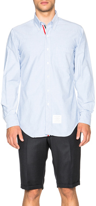 Thom Browne Classic Cotton Button Down with Ribbon Placket $425 thestylecure.com