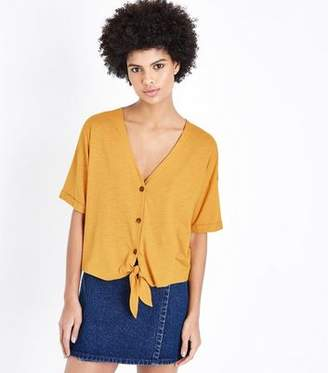 New Look Yellow Button Tie Front T-Shirt