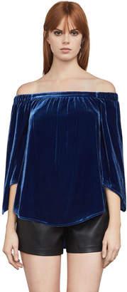 BCBGMAXAZRIA Sabbie Velvet Off-The-Shoulder Top