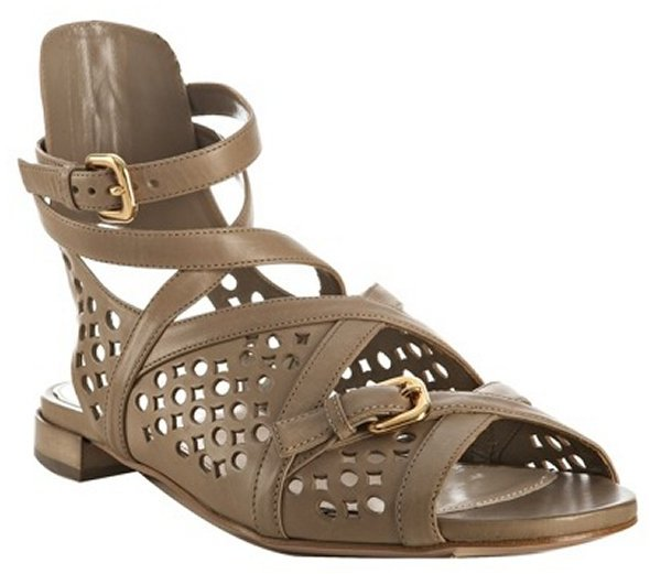 Prada taupe cutout leather wrap flat sandals