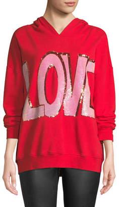 "Alice + Olivia Vernie ""LOVE"" Embellished Pullover Hoodie"