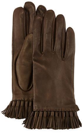 Rebecca MinkoffRebecca Minkoff Leather Mini Tassel Gloves, Aubergine