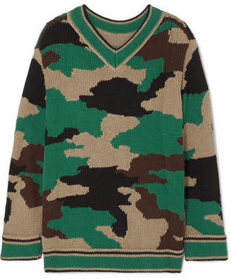 Burberry Intarsia Cotton Sweater - Army green