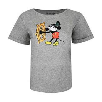 Disney Women's Mickey Mouse STEAM Boat Willie T-Shirt, (Grey Heather SPO), (Size:X-Large)